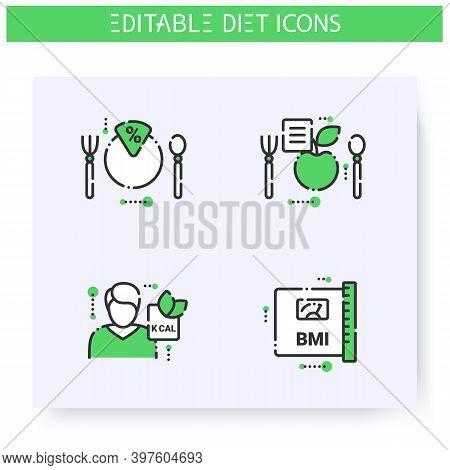 Diet Line Icons Set. Calorie Count, Healthy Nutrition Concept. Nutritiologist. Body Mass Index. Serv