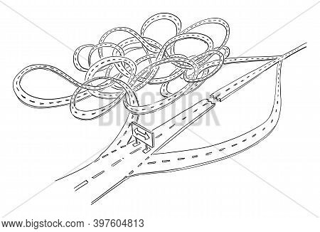 Road Closed. Vector Cartoon Illustration. Choose Your Road, Short Way Or Long Complicated Dangerous