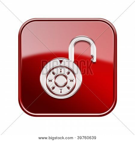 Lock On Icon Glossy Red, , Isolated On White Background.