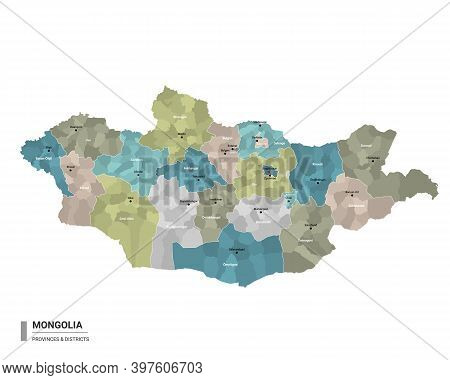 Mongolia Higt Detailed Map With Subdivisions. Administrative Map Of Mongolia With Districts And Citi