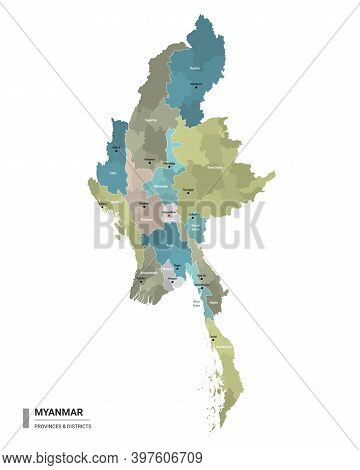 Myanmar Higt Detailed Map With Subdivisions. Administrative Map Of Myanmar With Districts And Cities