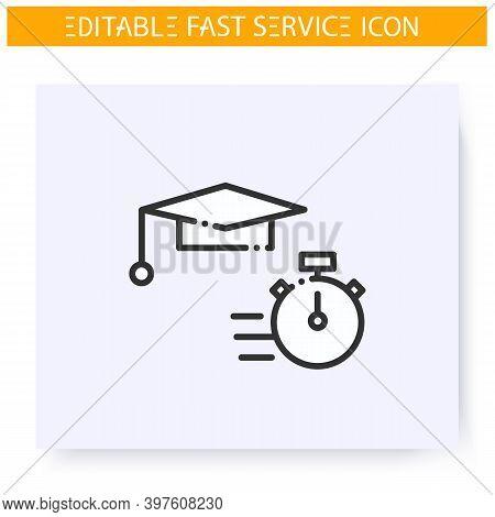 Express Education Line Icon. Short Term Educational Course, Workshop. Quick Services, Short Term, Ra