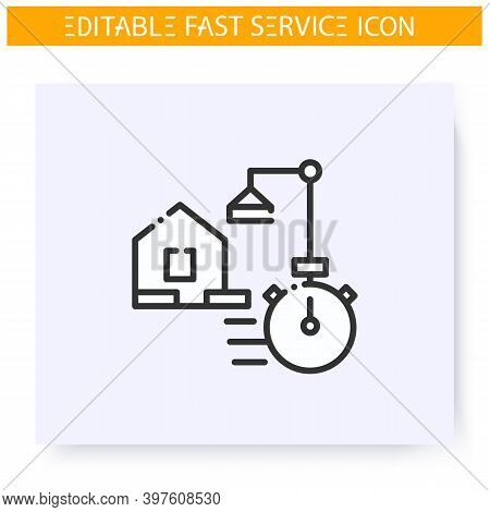 Fast House Building Line Icon. Speed House Construction, Panel Building. Quick Services, Short Term,