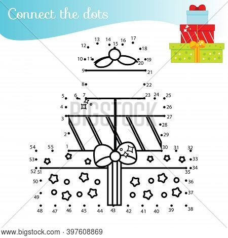 Christmas Gift Boxes. Connect The Dots. Dot To Dot By Numbers Activity For Kids And Toddlers. Childr