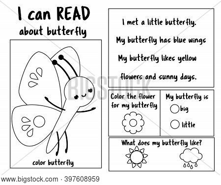 Insect Theme Read And Color Page For Kids. Educational Game For Children. Reading Comprehension Work