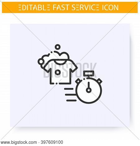 Express Laundry Line Icon. Speed Clothes Washing, Dry Cleaning. Launderette. Quick Services, Short T