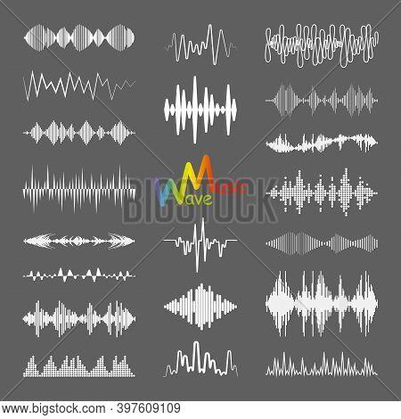 White Sound Waves Logo Collection With Audio Symbols. Modern Music Equalizer Elements Set. Digital F