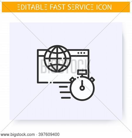 Fast Internet Line Icon. Internet Providing. Speed Internet, Rapid Network Connection. Quick Service