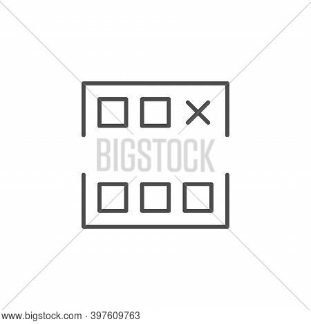 Co-working Scheme Line Outline Icon Isolated On White. Vector Illustration