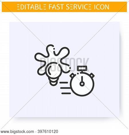 Express Design Line Icon. Fast Design Solutions Service. Designer Project. Quick Services, Short Ter