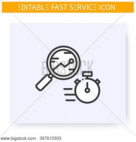 Express Audit Line Icon. Rapid Business Processes Analysis. Quick Research. Quick Services, Short Te