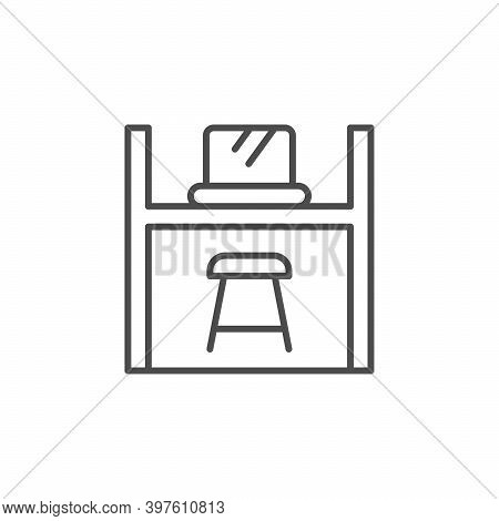Co-working Space Line Outline Icon Isolated On White. Vector Illustration