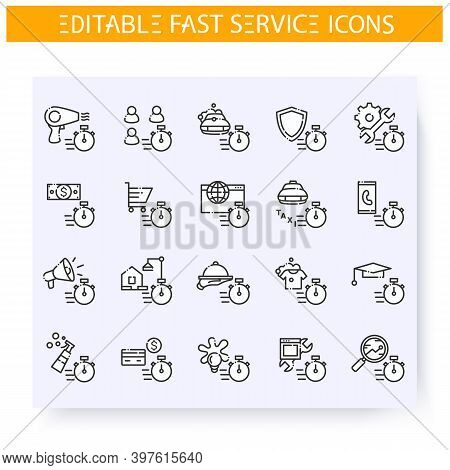 Fast Service Line Icons Set. Quick Client Service, Support, Production And Maintenance. Express Solu