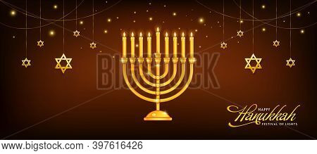 Vector Image Of Jewish Holiday, Happy Hanukkah Celebration Background With Menorah (traditional Cand