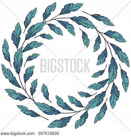 Vector Round Foliate Frame; Blue Wreath For Greeting Cards, Invitations, Posters, Banners.