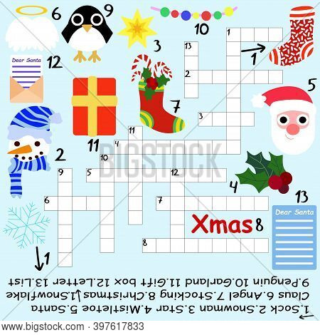 Big Christmas Crossword Stock Vector Illustration. Funny Educational Winter Holidays Crossword In En