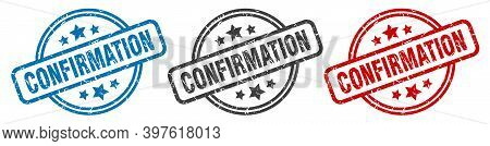 Confirmation Stamp. Confirmation Round Isolated Sign. Confirmation Label Set
