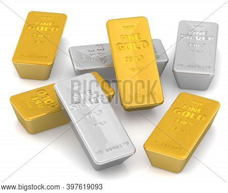 The Highest Standard Gold And Silver Bars. A Lot Of Ingots Of 999.9 Fine Gold And Fine Silver On Whi
