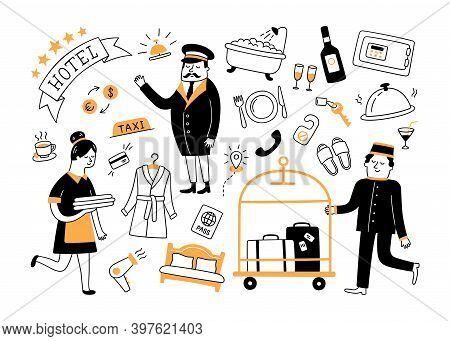 Hotel Services And Hotel Staff. Hand Drawn Objects. Vector Illustration In Doodle Style On White Bac