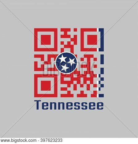 Qr Code Set The Color Of Tennessee Flag. A Blue Circle With Three White Five-pointed Stars On A Rect