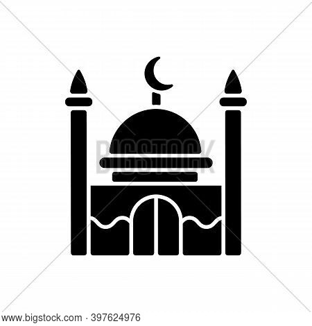 Mosque Black Glyph Icon. Place Of Worship For Muslims. Facilities And Minarets From Which Calls To P