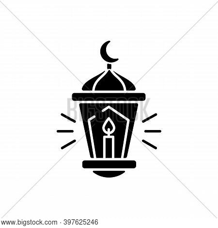Eid Al Fitr Black Glyph Icon. Festival Of Breaking The Fast. Religious Holiday Celebrated By Muslims