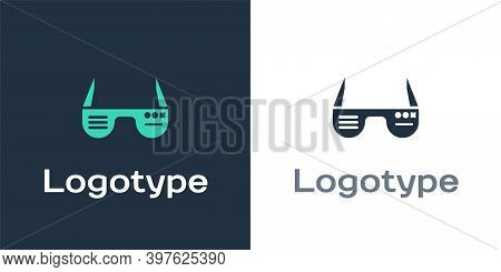 Logotype Smart Glasses Mounted On Spectacles Icon Isolated On White Background. Wearable Electronics