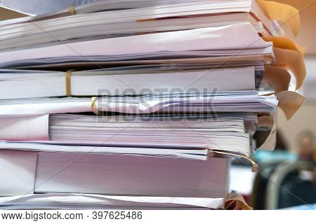 Overload Stack Messy Documents Of Report Papers For Reseacrch Teacher Classroom Planing On Desk Wait