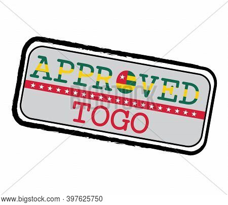 Vector Stamp Of Approved Logo With Togolese Flag In The Shape Of O And Text Togo. Grunge Rubber Text