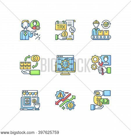 Business Management Rgb Color Icons Set. Entrepreneurship. Customer Services, Production Manufacturi