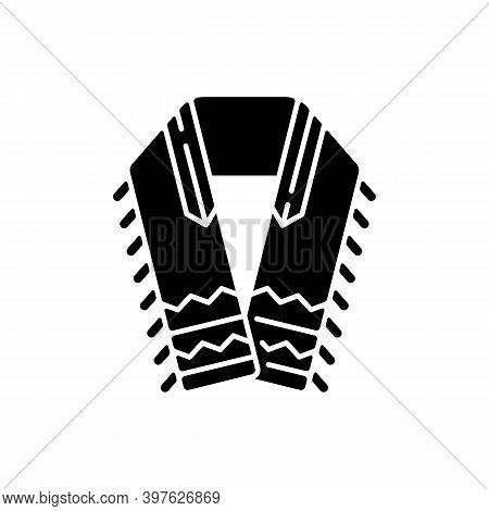 Tallit And Tzitzit Black Glyph Icon. Jewish Prayer Shawl. Fringes In Garments Corner. Holy Symbolism
