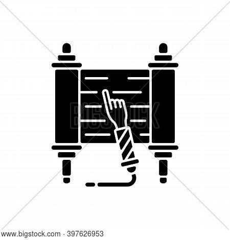 Torah Scroll Black Glyph Icon. Hebrew Bible. Esther Scroll. Purim Celebration. Shavuot Night. Jews W