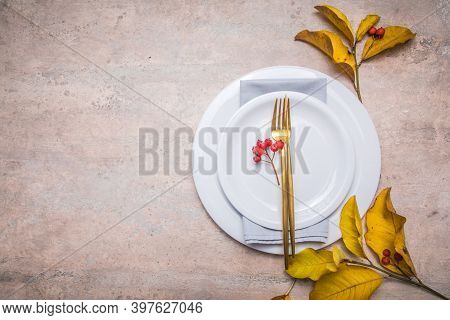 Thanksgiving Dinner Place Setting, Fallen Leaves With Plate And Cutlery. Thanksgiving Dinner Place S