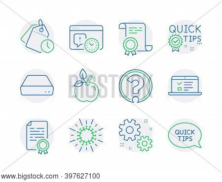 Science Icons Set. Included Icon As Certificate, Question Mark, Work Signs. Quick Tips, Mini Pc, Tim