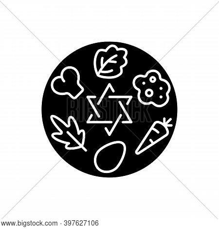 Passover Seder Plate Black Glyph Icon. Food Platter. Symbolic Foods. Six Ritual Items. Shankbone, Ka