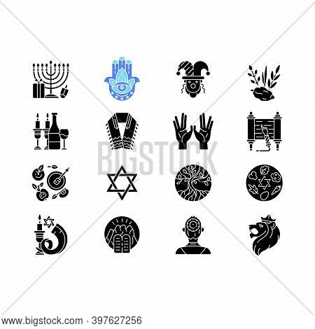 Jewish Holidays Black Glyph Icons Set On White Space. Holy Symbolism. Purim, Hanukkah, Shavuot, Shab