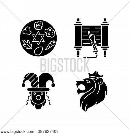 Jewish Religious Symbols Black Glyph Icons Set On White Space. Passover Seder Plate. Torah Scroll. P