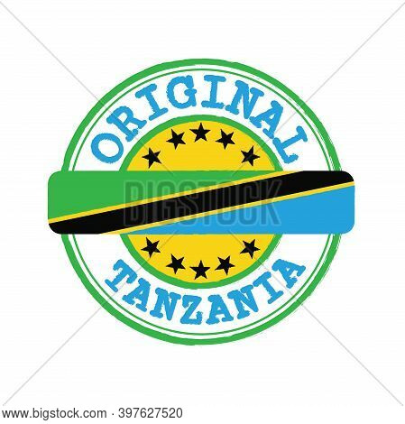 Vector Stamp Of Original Logo With Text Tanzania And Tying In The Middle With Nation Flag. Grunge Ru