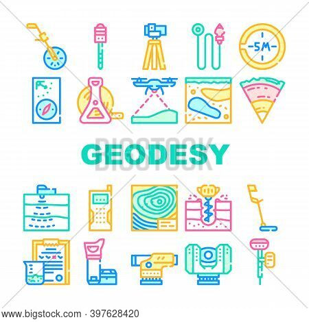 Geodesy Equipment Collection Icons Set Vector Illustration