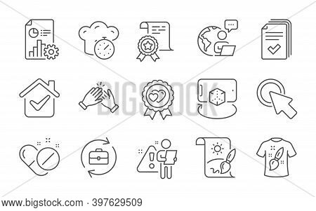 Certificate, Handout And Creative Painting Line Icons Set. Augmented Reality, Clapping Hands And Cli