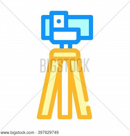 Theodolite, Vertical Projection Device Color Icon Vector Illustration