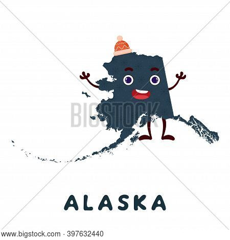 Cute Cartoon Alaska State Character Clipart. Illustrated Map Of State Of Alaska Of Usa With State Na