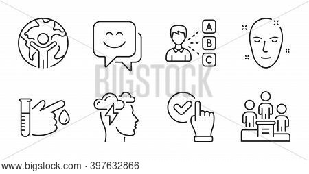 Blood Donation, Checkbox And Global Business Line Icons Set. Opinion, Mindfulness Stress And Health