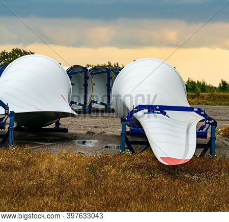 Wind Turbine Wings On The Ground Ready For Export To New Customers.