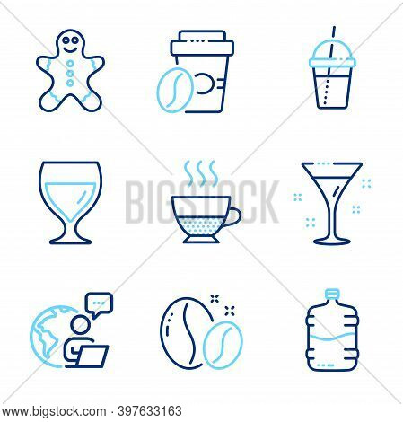 Food And Drink Icons Set. Included Icon As Cooler Bottle, Wine Glass, Coffee Beans Signs. Doppio, Ta