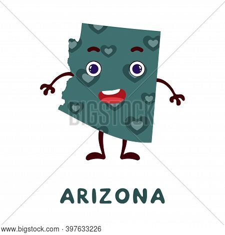 Cute Cartoon Arizona State Character Clipart. Illustrated Map Of State Of Arizona Of Usa With State