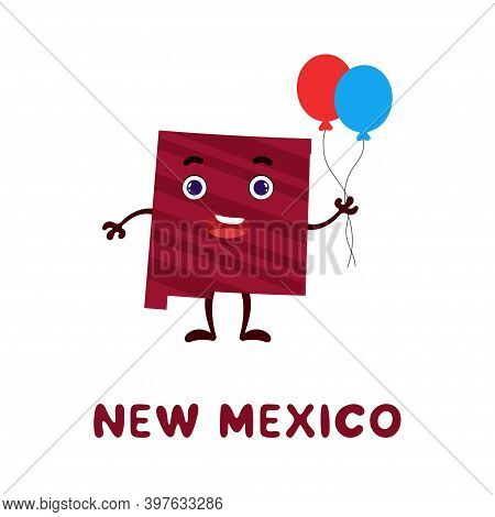 Cute Cartoon New Mexico State Character Clipart. Illustrated Map Of State Of New Mexico Of Usa With