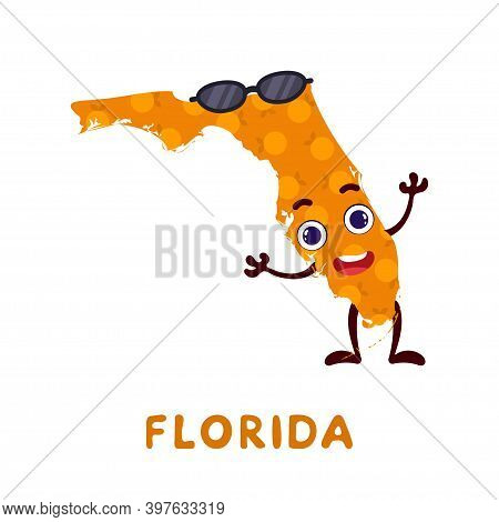 Cute Cartoon Florida State Character Clipart. Illustrated Map Of State Of Florida Of Usa With State