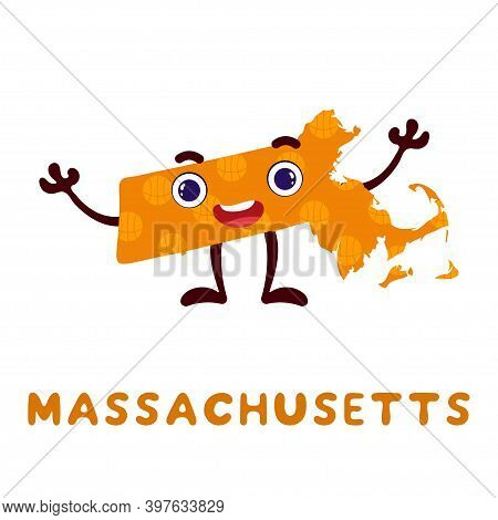 Cute Cartoon Massachusetts State Character Clipart. Illustrated Map Of State Of Massachusetts Of Usa