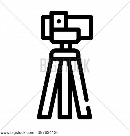 Theodolite, Vertical Projection Device Line Icon Vector Illustration